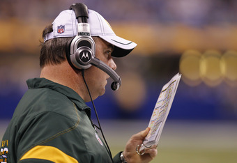 INDIANAPOLIS, IN - AUGUST 26: Green Bay Packers head coach Mike McCarthy looks on during an NFL preseason game against the Indianapolis Colts at Lucas Oil Stadium on August 26, 2011 in Indianapolis, Indiana. The Packers won 24-21. (Photo by Joe Robbins/Ge