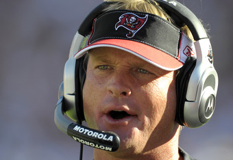 TAMPA, FL - DECEMBER 28: Coach Jon Gruden of the Tampa Bay Buccaneers directs play against the Oakland Raiders at Raymond James Stadium on December 28, 2008 in Tampa, Florida.  (Photo by Al Messerschmidt/Getty Images)