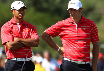 Tiger Woods with new go to partner Dustin Johnson