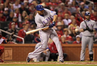 ST LOUIS, MO - OCTOBER 28: Nelson Cruz #17 of the Texas Rangers bats during Game Seven of the MLB World Series against the St. Louis Cardinals at Busch Stadium on October 28, 2011 in St Louis, Missouri.  (Photo by Jamie Squire/Getty Images)