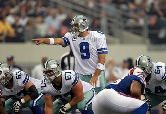 ARLINGTON, TX - NOVEMBER 13:  Tony Romo #9 of the Dallas Cowboys at Cowboys Stadium on November 13, 2011 in Arlington, Texas.  (Photo by Ronald Martinez/Getty Images)