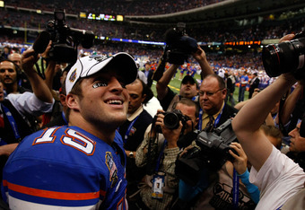 NEW ORLEANS - JANUARY 01:  Tim Tebow #15 of the Florida Gators walks off the field after defeating the Bearcats 24-51 in the Allstate Sugar Bowl at the Louisana Superdome on January 1, 2010 in New Orleans, Louisiana.  (Photo by Kevin C. Cox/Getty Images)