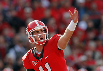 ATHENS, GA - NOVEMBER 19:  Aaron Murray #11 of the Georgia Bulldogs yells to the offense during the game against the Kentucky Wildcats at Sanford Stadium on November 19, 2011 in Athens, Georgia.  (Photo by Kevin C. Cox/Getty Images)