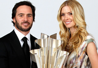 LAS VEGAS, NV - DECEMBER 03:  (L-R) Five-time champion Jimmie Johnson poses with his wife Chandra during the NASCAR Sprint Cup Series awards banquet at the Wynn Las Vegas Hotel on December 3, 2010 in Las Vegas, Nevada.  (Photo by Todd Warshaw/Getty Images