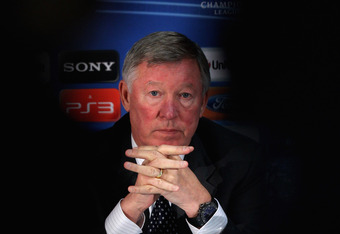 MANCHESTER, ENGLAND - NOVEMBER 21:  Sir Alex Ferguson the manager of Manchester United faces the media during a press conference ahead of the UEFA Champions League Group C match against Benfica held at Old Trafford on November 21, 2011 in Manchester, Engl