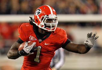 ATHENS, GA - NOVEMBER 12:  Isaiah Crowell #1 of the Georgia Bulldogs rushes upfield against the Auburn Tigers at Sanford Stadium on November 12, 2011 in Athens, Georgia.  (Photo by Kevin C. Cox/Getty Images)