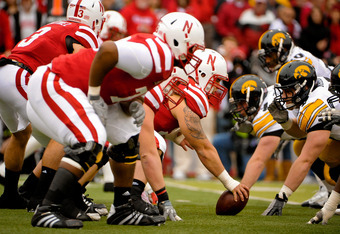LINCOLN, NE - NOVEMBER 25: Offensive linesman Mike Caputo #58 and the rest of the Nebraska Cornhusker line wait to fire off against the Iowa Hawkeyes during their game at Memorial Stadium November 25, 2011 in Lincoln, Nebraska. Nebraska defeated Iowa 20-7
