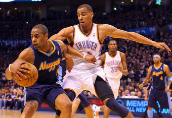 OKLAHOMA CITY, OK - APRIL 27: Arron Afflalo #6 of the Denver Nuggets looks to get past Thabo Sefolosha #2 of the Oklahoma City Thunder in Game Five of the Western Conference Quarterfinals in the 2011 NBA Playoffs on April 27, 2011 at the Ford Center in Ok