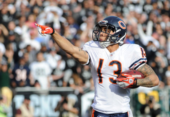 OAKLAND, CA - NOVEMBER 27:  Johnny Knox #13 of the Chicago Bears celebrates after scoring on a twenty nine yard touchdown pass against the Oakland Raiders at O.co Coliseum on November 27, 2011 in Oakland, California.  (Photo by Thearon W. Henderson/Getty