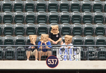 NEW YORK, NY - SEPTEMBER 28:  Fans of the New York Mets sit alone in the upper deck during the game against the Cincinnati Reds at Citi Field on September 28, 2011 in the Flushing neighborhood of the Queens borough of New York City.  (Photo by Jim McIsaac