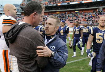 CLEVELAND, OH - NOVEMBER 13: Head coach Pat Shurmur of the Cleveland Browns congratulates head coach Steve Spagnuolo of the St. Louis Rams after the Rams defeated the Browns 13-12 at Cleveland Browns Stadium on November 13, 2011 in Cleveland, Ohio. The Ra