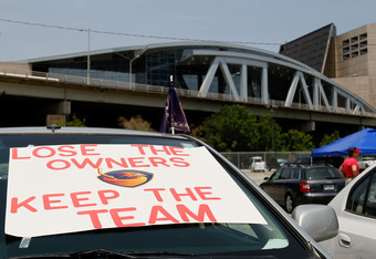 ATLANTA, GA - MAY 21:  A sign displayed outside Philips Arena urges the Atlanta Thrashers to 'Lose the owners' as fans hold a rally to keep the team in Atlanta on May 21, 2011 in Atlanta, Georgia.  It has been reported the Thrashers may relocate to Winnip