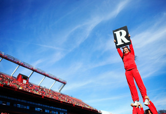 NEW BRUNSWICK, NJ - NOVEMBER 19:  A Rutgers Scarlet Knights cheerleader performs before a game between the Cincinnati Bearcats and Rutgers Scarlet Knights at Rutgers Stadium on November 19, 2011 in New Brunswick, New Jersey.  (Photo by Patrick McDermott/G