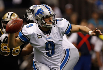 NEW ORLEANS, LA - DECEMBER 04:  Quarterback Matthew Stafford #9 of the Detroit Lions looks to pass against the New Orleans Saints at Mercedes-Benz Superdome on December 4, 2011 in New Orleans, Louisiana.  (Photo by Chris Graythen/Getty Images)