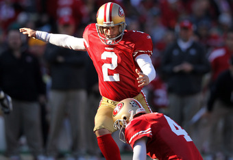 SAN FRANCISCO, CA - DECEMBER 04:  David Akers #2 of the San Francisco 49ers kicks a field goal against the St. Louis Rams at Candlestick Park on December 4, 2011 in San Francisco, California.  (Photo by Ezra Shaw/Getty Images)