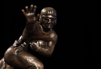 NEW YORK - DECEMBER 11:  The 2010 Heisman Trophy is displayed prior to a press conference for Heisman Trophy candidates at The New York Marriott Marquis on December 11, 2010 in New York City. (Photo by Jeff Zelevansky/Getty Images)