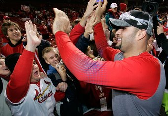 Pujols Celebrating With Fans After Winning The 2006 World Series
