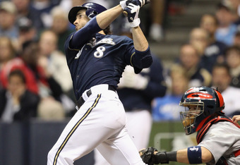 MILWAUKEE, WI - OCTOBER 10:  Ryan Braun #8 of the Milwaukee Brewers hits a gorund rule double in the bottom of the fifth inning against the St. Louis Cardinals during Game Two of the National League Championship Series at Miller Park on October 10, 2011 i