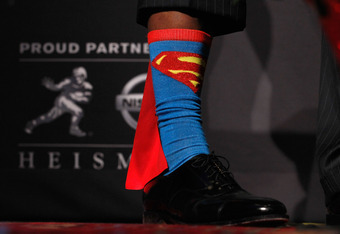 NEW YORK, NY - DECEMBER 10:  A detail view of Heisman Memorial Trophy Award winner Robert Griffin III of the Baylor Bears showing his Superman socks during a press conference at The New York Marriott Marquis on December 10, 2011 in New York City.  (Photo