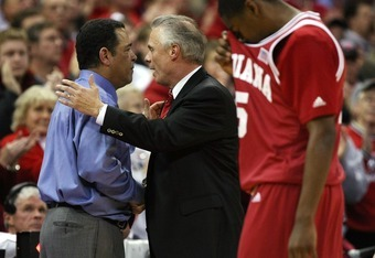 MADISON, WI - JANUARY 31: Head coach Bo Ryan (R) of the Wisconsin Badgers shakes hands with head coach Kelvin Sampson of the Indiana Hoosiers after a Wisconsin win as Jordan Crawford #5 of Indiana walks off the court at the Kohl Center January 31, 2008 in