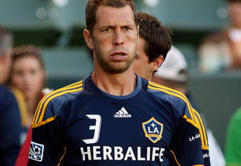 CARSON, CA - AUGUST 06:  Gregg Berhalter #3 of the Los Angeles Galaxy warms up before the game against FC Dallas at The Home Depot Center on August 6, 2011 in Carson, California.  (Photo by Jeff Golden/Getty Images)