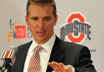 COLUMBUS, OH - NOVEMBER 28:  Urban Meyer speaks to the media after being introduced as the new head coach of Ohio State football on November 28, 2011 in Columbus, Ohio. (Photo by Jamie Sabau/Getty Images)