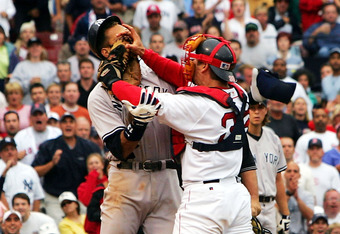 Varitek cemented his legend in Boston when he squared off against Alex Rodriguez in July of 2004.