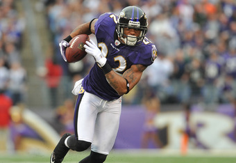 BALTIMORE - NOVEMBER 20:  Jimmy Smith #22 of the Baltimore Ravens returns an interception, his first, against the Cincinnati Bengals at M&T Bank Stadium on November 20,  2011 in Baltimore, Maryland. The Ravens defeated the Bengals 31-24. (Photo by Larry F