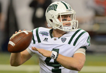 DETROIT, MI - DECEMBER 02:  Tyler Tettleton #4 of the Ohio Bobcats looks to throw a pass in the second quarter of the MAC Championship game against the Northern Illinois Huskies at Ford Field on December 2, 2011 in Detroit, Michigan. The Huskies defeated