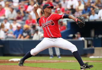 Randall Delgado gave fans a preview of his talents by throwing a no-hitter through six innings in his second career start with the Braves.