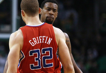 BOSTON, MA - MARCH 09:  DeAndre Jordan #9 and Blake Griffin #32 of the Los Angeles Clippers celebrate in the fourth quarter against the Boston Celtics on March 9, 2011 at the TD Garden in Boston, Massachusetts. The Los Angeles Clippers defeated the Boston