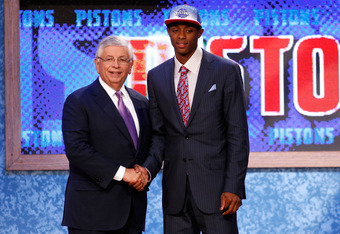 NEWARK, NJ - JUNE 23:  Brandon Knight from the University of Kentucky greets NBA Commissioner David Stern after he was selected #8 overall by the Detroit Pistons in the first round during the 2011 NBA Draft at the Prudential Center on June 23, 2011 in New