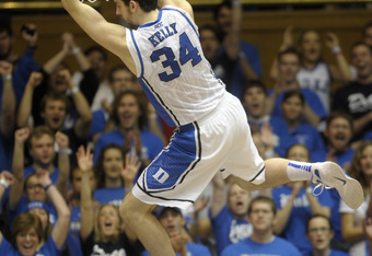 DURHAM, NC - NOVEMBER 12:   Ryan Kelly #34 of the Duke Blue Devils dunks over Presbyterian Blue Hose during an NCAA game in Cameron Indoor Stadium on November 12, 2011 in Durham, North Carolina.   (Photo by Sara D. Davis/Getty Images)