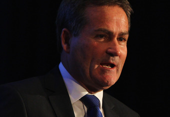LONDON, ENGLAND - NOVEMBER 25:  Richard Keys speaks at the UEFA Champions League Final 2011 Design Launch at Wembley Stadium on November 25, 2010 in London, England.  (Photo by Dean Mouhtaropoulos/Getty Images)