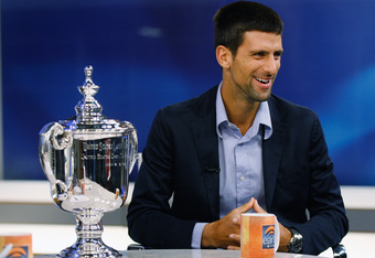 NEW YORK, NY - SEPTEMBER 13:  2011 US Open Singles Men's Champion Novak Djokovic of Serbia is during an appearance on CBS the Early Show on September 13, 2011 in New York City. Djokovic defeated Rafael Nadal of Spain in 4 sets during their match September