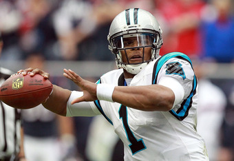 HOUSTON, TX - DECEMBER 18:  Cam Newton #1 of the Carolina Panthers at Reliant Stadium on December 18, 2011 in Houston, Texas.  (Photo by Ronald Martinez/Getty Images)