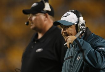 PITTSBURGH - AUGUST 26:  Assistant Head Coach and Offensive Coordinator Marty Mornhinweg of the Philadelphia Eagles looks on against the Pittsburgh Steelers during the NFL preseason game on August 26, 2007 at Heinz Field in Pittsburgh, Pennsylvania. The S