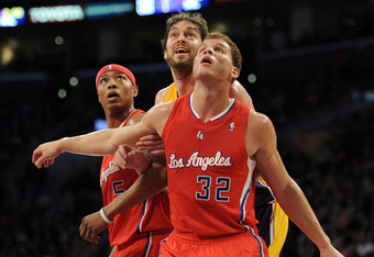 LOS ANGELES, CA - DECEMBER 19:  Blake Griffin #32 and Caron Butler #5 of the Los Angeles Clippers box out Pau Gasol #16 of the Los Angeles Lakers during a 114-95 Clipper win at Staples Center on December 19, 2011 in Los Angeles, California.  (Photo by Har