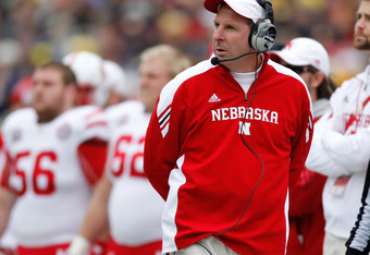 ANN ARBOR, MI - NOVEMBER 19: Head coach Bo Pelini of the Nebraska Cornhuskers looks on from the sideline while playing the Nebraska Cornhuskers at Michigan Stadium on November 19, 2011 in Ann Arbor, Michigan. (Photo by Gregory Shamus/Getty Images)