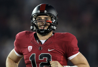 STANFORD, CA - NOVEMBER 26:  Andrew Luck #12 of the Stanford Cardinal runs on to the field for their game against the Notre Dame Fighting Irish at Stanford Stadium on November 26, 2011 in Stanford, California.  (Photo by Ezra Shaw/Getty Images)