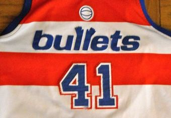 The classic Wes Unseld Bullets retro jersey is a big seller on the internet. Photo by Mike Frandsen.