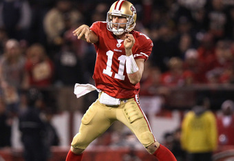 SAN FRANCISCO, CA - DECEMBER 19:  Alex Smith #11 of the San Francisco 49ers throws the ball during their game against the Pittsburgh Steelers at Candlestick Park on December 19, 2011 in San Francisco, California.  (Photo by Ezra Shaw/Getty Images)