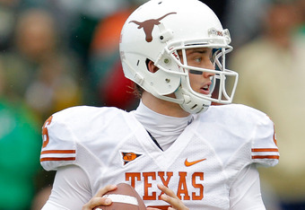 WACO, TX - DECEMBER 03:  Case McCoy #6 of the Texas Longhorns looks to pass during a game against the Baylor Bears at Floyd Casey Stadium on December 3, 2011 in Waco, Texas.  (Photo by Sarah Glenn/Getty Images)