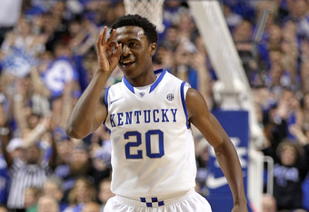 LEXINGTON, KY - DECEMBER 20:  Doron Lamb #20 of the Kentucky Wildcats celebrates after making a three point shot during the game against the Samford Bulldogs at Rupp Arena on December 20, 2011 in Lexington, Kentucky.  (Photo by Andy Lyons/Getty Images)