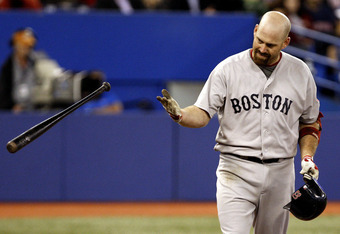 TORONTO, CANADA - SEPTEMBER 8: Kevin Youkilis #20 of the Boston Red Sox reacts to a strikeout against the Toronto Blue Jays  during MLB action at the Rogers Centre September 8, 2011 in Toronto, Ontario, Canada. (Photo by Abelimages/Getty Images)