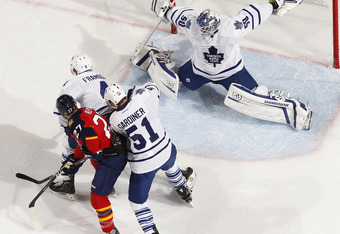 SUNRISE, FL - DECEMBER 27: Goaltender Jonas Gustavsson #50 of the Toronto Maple Leafs stops a shot by Michal Repik #27 of the Florida Panthers on December 27, 2011 at the BankAtlantic Center in Sunrise, Florida.  The Panthers defeated the Maple Leafs 5-3.