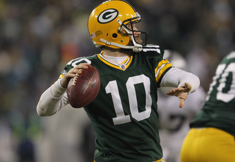 GREEN BAY, WI - DECEMBER 11:  Matt Flynn #10 of the Green Bay Packers passes against the Oakland Raiders at Lambeau Field on December 11, 2011 in Green Bay, Wisconsin. The Packers defeated the Raiders 46-16.  (Photo by Jonathan Daniel/Getty Images)