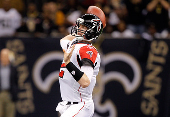 NEW ORLEANS, LA - DECEMBER 26:  Quarterback Matt Ryan #2 of the Atlanta Falcons throws the ball in the first half against the New Orleans Saints at the Mercedes-Benz Superdome on December 26, 2011 in New Orleans, Louisiana.  (Photo by Chris Graythen/Getty