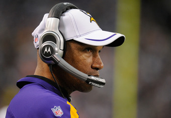 MINNEAPOLIS, MN - DECEMBER 4: Leslie Frazier, head coach of the Minnesota Vikings looks on in the first quarter against the Denver Broncos on December 4, 2011 at Mall of America Field at the Hubert H. Humphrey Metrodome in Minneapolis, Minnesota. (Photo b