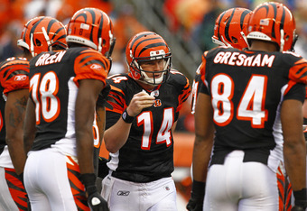 CINCINNATI, OH - NOVEMBER 27:  Andy Dalton #14 of the Cincinnati Bengals talks with his team in between plays during the game against the Cleveland Browns at Paul Brown Stadium on November 27, 2011 in Cincinnati, Ohio.  (Photo by Tyler Barrick /Getty Imag